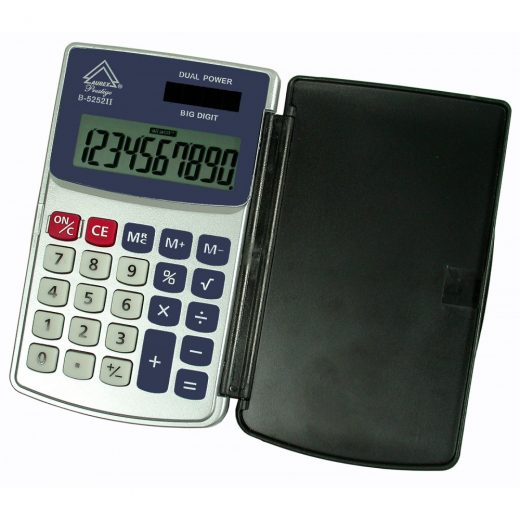 Dual Power Hinged Hard Shell Case Handheld Calculator - AUR-B5252II