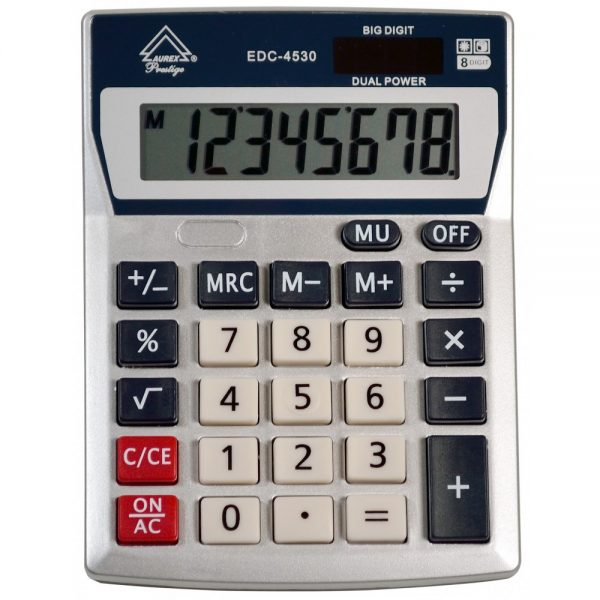 Dual Power Fixed Angled Title Display Handheld Calculator - AUR-EDC4530