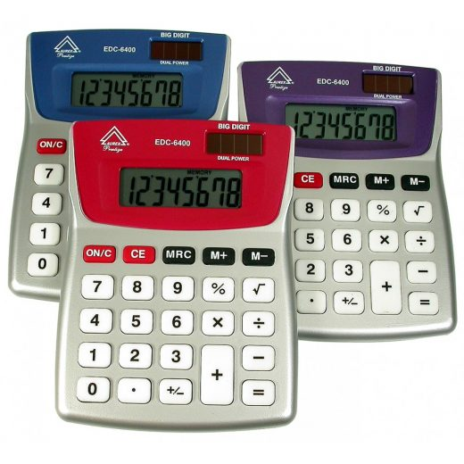 Dual Power Tilt Display Desktop Calculator – Multi color - EDC6400