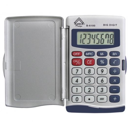 Battery Powered Hinged Hard Case Handheld Calculator - B-6100