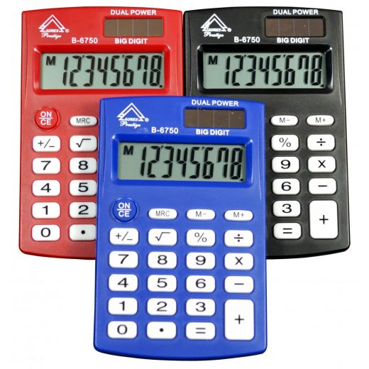 Dual Power Handheld Calculator - Mixed color - B-6750