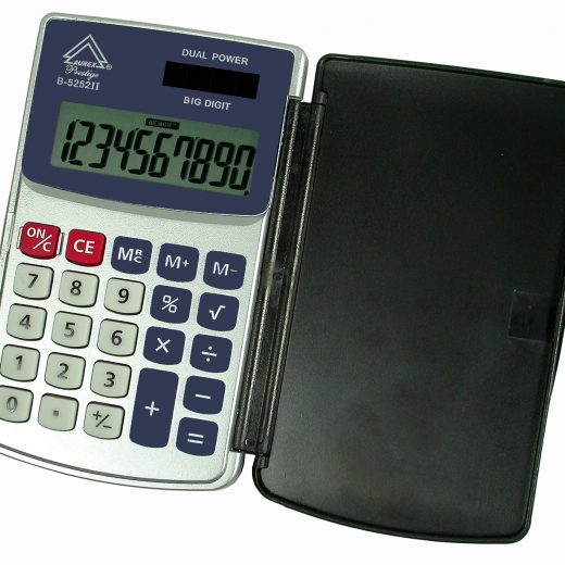Dual Power Hinged Hard Shell Case Handheld Calculator - AUR- B5252II