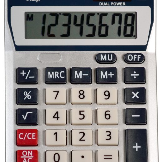 Dual Power Fixed Angled Display Handheld Calculator - AUR- EDC4530